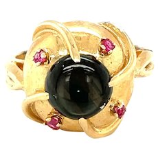 14K Yellow Gold Round cut Star Sapphire and Ruby Ring