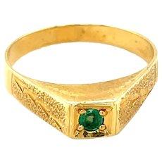 18K Yellow Gold Round cut Emerald Ring