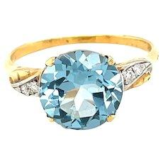 14K Yellow Gold Round cut Blue Topaz and Diamond Ring