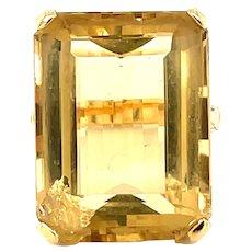 18K Yellow Gold Emerald cut Citrine Statement Ring