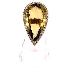 18K Yellow Gold Peridot Diamond Ring