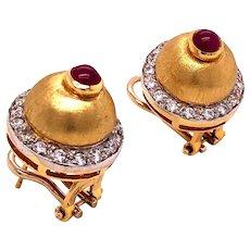 18K Yellow Gold Ruby Diamond Earrings