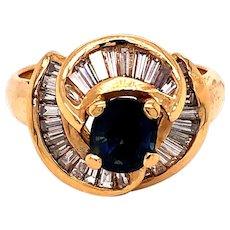 18K Gold Sapphire Diamond Ring