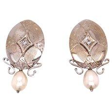18K White Gold Seed Pearl Diamond Clip-on Earrings