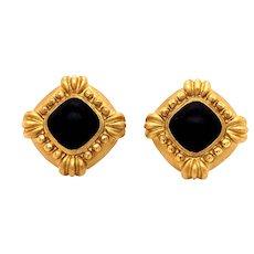 18K Gold Black Coral Earrings
