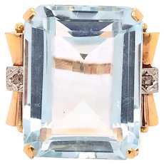 18K Gold Platinum Diamond Aquamarine Ring