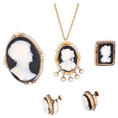 14K Gold Onyx Cameo Diamond Cultured Pearl Necklace Brooch Earring Set