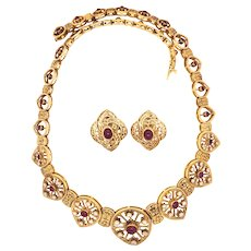 18K Gold Cabochon Ruby and Diamond Necklace and Pair of Earclips