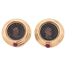 18K Yellow gold Ancient Coin Earclips
