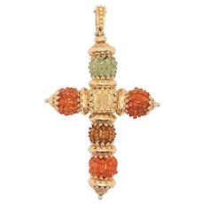 18K Yellow Gold Beaded Cross Pendant