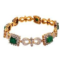 18K Yellow Gold Diamond and Emerald Bracelet