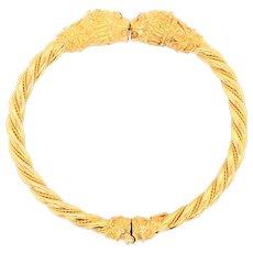 18K Yellow Gold Lion's Head Bangle
