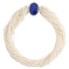 14K Gold Lapis Lazuli, Cultured Pearl Torsade Necklace