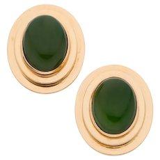 Tambetti 14K Gold Nephrite Jade Earrings