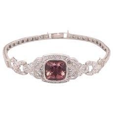 Platinum Pink Tourmaline Diamond Bracelet