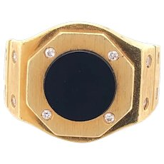 18K Yellow Gold Onyx Diamond AP Mens Ring