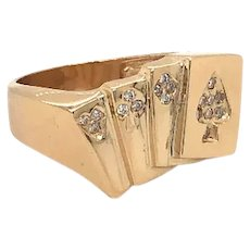 14K Yellow Gold Card Ring With Diamonds