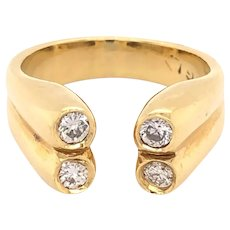 18K Yellow Gold Diamond Open Front Vintage Ring