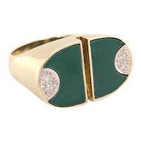 14K Yellow Gold Green-Stone Diamond Ring