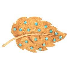 18K Gold Turquoise Leaf Brooch