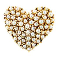 14K Gold Cultured Pearl Heart Pendant-Brooch