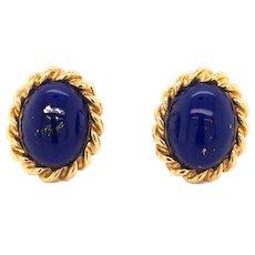 18K Gold Lapis Lazuli Earclips