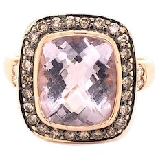 14K Rose Gold Colored Stone Diamond Ring