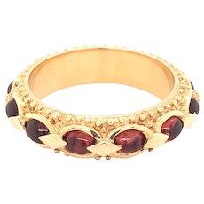 14K Yellow Gold Cabochon Garnet Eternity Band Ring