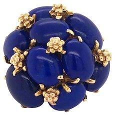 14K Gold Lapis Lazuli Cluster Cocktail Ring