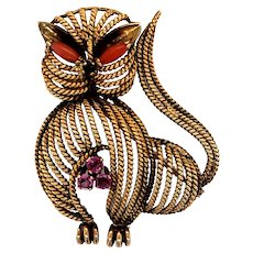 18K Gold Cat Brooch