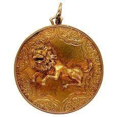 18K Gold Lion Coin Pendant