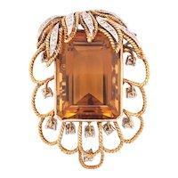 18K Yellow & White Gold Citrine Diamond Brooch