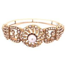14K Gold Antique Seed Pearl Bangle