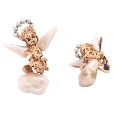 14K Yellow Gold Baroque Freshwater Pearls Angel Earclips