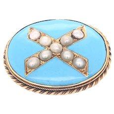 14K Gold Porcelain Split Pearl Pendant Brooch