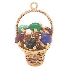 18K Gold Multi-Gem Fruit Basket Charm