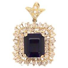 18K Yellow Gold Amethyst Diamond Pendant