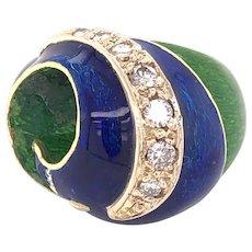 18K Yellow Gold Enamel Diamond Ring