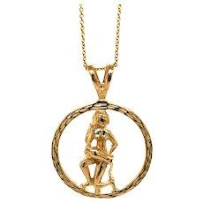 14K Yellow Gold Vintage Aquarius Charm Pendant