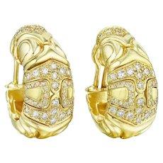 18K Gold Diamond Earclips