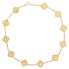 18K Gold Diamond Van Cleef Alhambra Style Choker Necklace