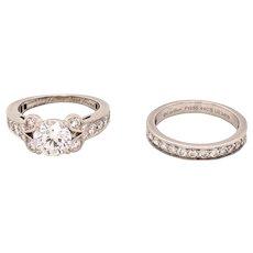 Cartier Platinum Diamond Ballerine Solitaire Ring & Half Eternity Band Set