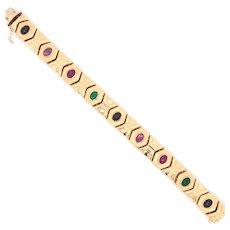 14K Yellow Gold Multi-Color Gem Bracelet