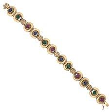 14K Yellow Gold Sapphire Ruby Emerald Bracelet