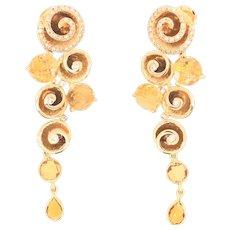 18K Yellow Gold Citrine Diamond Earrings