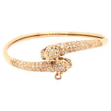 14K Yellow Gold Diamond Ruby Panther Head Bangle Bracelet
