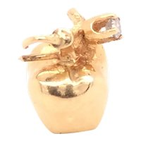 14K Yellow Gold Diamond Apple Charm