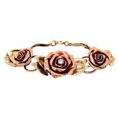 14K Rose and Yellow Gold Diamond Rose Bracelet