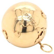 14K Yellow Gold 3D World Globe Charm