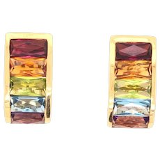 1980's H Stern 18K Yellow Gold Multicolor Gemstone Earrings